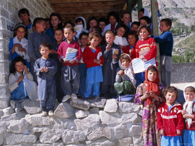 615-176~Group-of-Children-Outside-School-Gulmit-Upper-Hunza-Valley-Pakistan-Asia-Posters