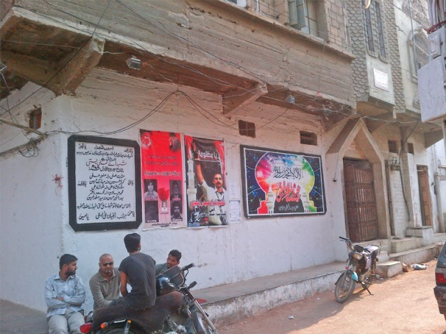 Pictures of victims from the first sectarian conflict of Karachi adorn an imambargah's walls. PHOTO: RABIA ALI/EXPRESS