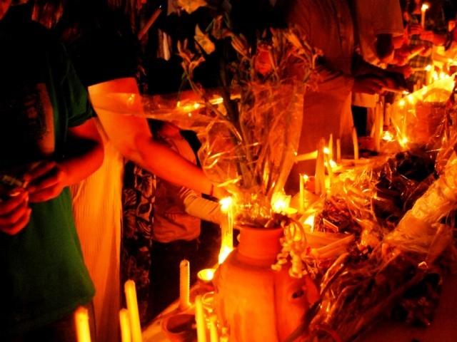 File photo of a candle light vigil. PHOTO: SIDRAH MOIZ KHAN/EXPRESS