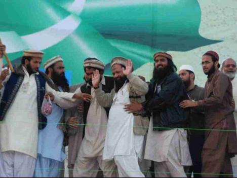 Malik Ishaq atteding a Defense of Pakistan rally in Karachi.