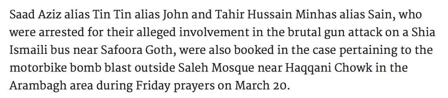 "Source: DAWN - ""Eyewitnesses identifies Bohra community mosque blasts suspects"""