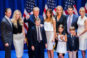 NEW YORK, NY - JUNE 16: (L-R) Eric Trump, Lara Yunaska Trump, Donald Trump, Barron Trump, Melania Trump, Vanessa Haydon Trump, Kai Madison Trump, Donald Trump Jr., Donald John Trump III, and Ivanka Trump pose for photos on stage after Donald Trump announced his candidacy for the U.S. presidency at Trump Tower on June 16, 2015 in New York City. Trump is the 12th Republican who has announced running for the White House. (Photo by Christopher Gregory/Getty Images)